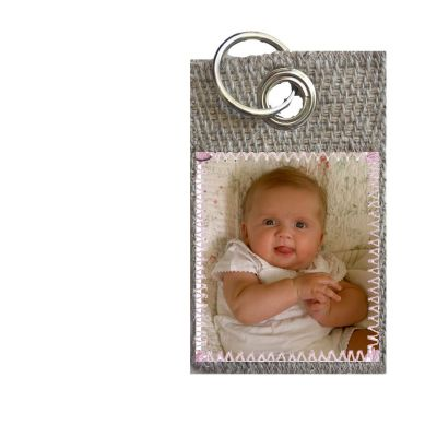Porte clefs simple en toile de jute